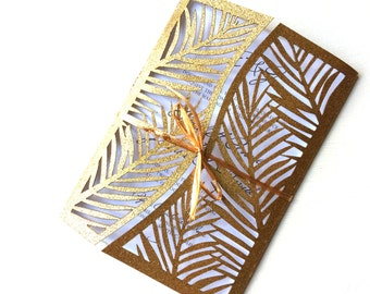 Gold Laser Cut Tree Wedding Invitation Gatefold Style, Tropical Destination Wedding Invitation