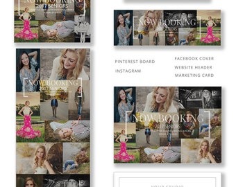 Photography Templates, Senior Photography Marketing and Social Media, Instagram, 5x7 Card, Pinterest Collage, Facebook, SM301