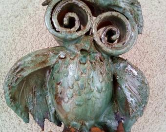 Cute wise owl , home decor Owl Ceramic Sculpture,  fan art. Ceramic  Symbol of wisdom.