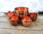 Copper roly poly glasses set with ice bucket, Coppercraft Guild, CG, brass, cups, barware