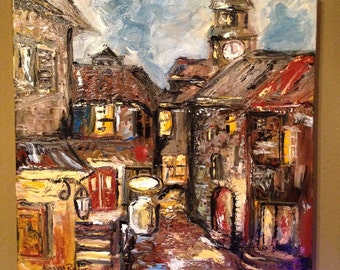 Original Old Village Painting