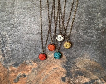 Small Colourful Pendant, Rustic Button Necklace, Simple red, turquoise, orange, green or concrete handmade charm, Mother Earth Jewelry, zen
