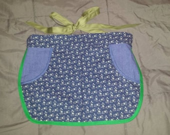 Clothespin Apron,  Denim and floral two -pocket half -apron, Cotton print half-apron