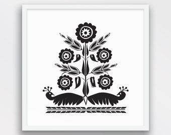 Khasi Tribal Art, Folk Art, Black and White Decor, Indian Motif, Peacock Folk Art, Naive art, Birds, Flowers Nature Art, Printable Art