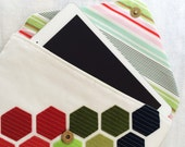 Envelope Clutch iPad Case Tablet Case iPad Sleeve Wool Felt Bag Hexagon Modern Quilt Clutch