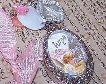OOAK Handmade HOPE/LOVE Pink Angel Necklace or Ornament!
