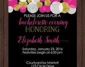 Bachelorette Party Invite - Black, White, Pink and Gold (Custom Colors Available)