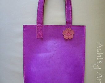 Magenta Leather Tote Bag