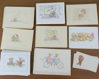 77 Piece Lot Vintage Cute Bear Greeting Cards