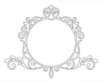 Embroidery design machine redwork Round frame vintage scroll instant download
