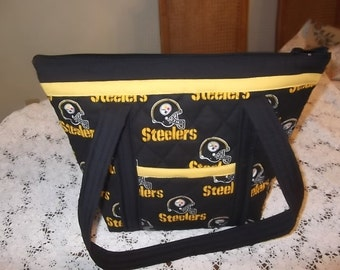 Pittsburgh Steelers Handmade Machine Quilted Purse