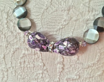 Faceted Mother of Pearl Long Necklace