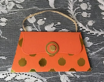 Gift Card and Money Holders Tangerine Orange and Gold Purse