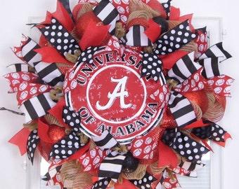 Alabama Wreath, Deco Mesh Wreath, University of Alabama Wreath, Sports Wreaths, Roll Tide , Bama, College Wreaths, Back to School