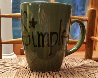 Primitive star, Simple, Folk Art coffee mug, rustic star, hand painted mug