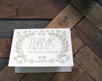 Solomon's Seal Letterpress Thank You Card - apothecary herbalism wildflower botanical illustration - blank thank you card