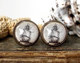 Pirate Cufflinks / Pirate Ship Cufflinks - Antique Nautical Print High Seas Cuff Links In Bronze - Pirate Jewelry
