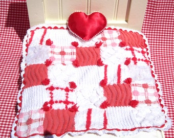 Doll Quilt Small Doll Blanket Red and White Chenille Doll Quilt Patchwork Doll Quilt Small Quilt Christmas Doll Quilt Miniature Red Quilt