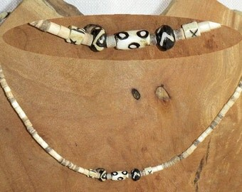 Coconut Shell & Painted Bone Necklace for Men or Women Androgenous 5th or 6th Anniversary Blonde and Brown Tribal Hippie Primitive Surfer