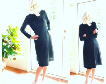 Vintage Toni Todd 1960's long sleeve black polyester dress minimalist modern mod mid century retro versatile: small, medium