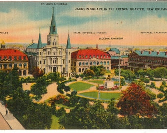 Linen Postcard, New Orleans, Louisiana, Jackson Square in the French Quarter, ca 1940