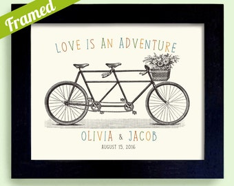 Love is an Adventure Wedding Gift Personalized Wedding Gift for Newlywed Couple Wedding Sign Tandem Bicycle for Two Framed Art Print