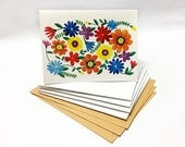 Watercolor Bright Floral Illustrated Blank Cards Set - 5 pieces