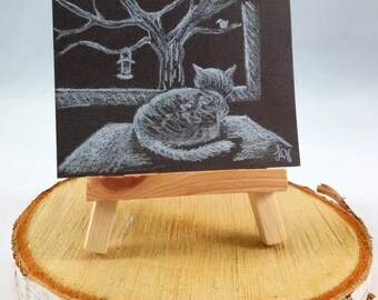 CAT ART ACEO Original Colored Pencil Drawing, Bird Watcher, Artist Trading Card Colored Pencil Sketch