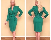 ON SALE 1940s Style Vintage Pinup Dress 80s Does 40s 50s Emerald Green Rockabilly Dress Knee Length Long Sleeve 1940s 1950s Size Small Mediu