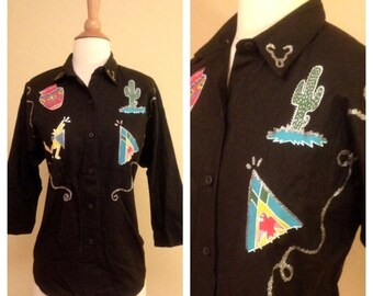 ON SALE Rockabilly Pinup 1980s Vintage Southern Western Womens Woven Button Up - Texas Mexico Mexican Native American - Cactus Howling Coyot