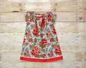 2T Peasant Dress, Toddler Dress, Toddler Clothing, Red and Blue Floral Peasant Dress, Birthday Dress, made by The Corduroy HIppo