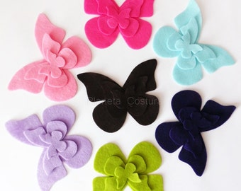 Felt Butterflies IV. Set of 21 pieces. Die Cut Shapes, Applique, Party Supply, DIY Wedding