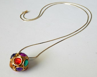 Vintage Multi Jewel Ball Pendant Long Necklace Gold & Jeweltone Rhinestones