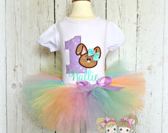 Easter bunny birthday outfit - Easter tutu outfit - 1st birthday brown bunny birthday outfit - pastel rainbow bunny tutu outfit - 1st Easter