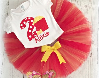 Movie themed birthday outfit - popcorn tutu outfit - popcorn themed birthday - 1st birthday outfit - movie birthday - personalized outfit