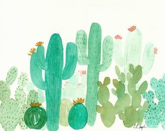 Watercolor Cactus Art, 11x14, green, gold, mint, landscape, original painting, cactus painting, garden, coral