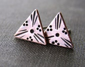 Triangle stud earrings. Rustic copper studs. Hand stamped small boho earrings.