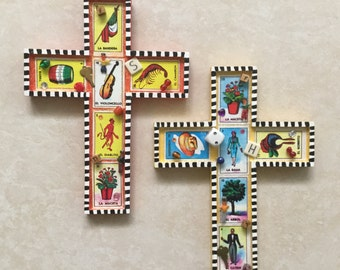 Funky Cross Handmade with Mexican Loteria Cards, Worry Dolls and Other Fun Things