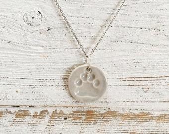 Ceramic Paw Print Pendant, Soft Grey, Uniqur Gift, Dog Mom, Gift for Her, Rescue, Pets, Ceramics, Dog Jewelry, Unique Jewelry, Pet Jewelry