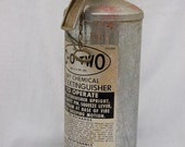 Co Two Vintage 1940s 1950s Silver Aluminum MCM Industrial Fire Extinguisher