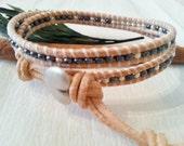 Double wrap natural color beaded bracelet, beachy dark blue silver mix bohostyle bracelet