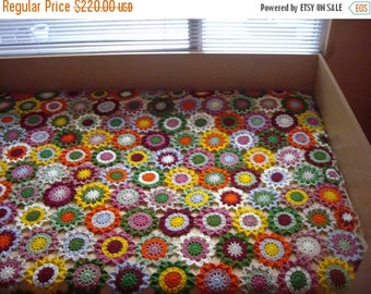 ON SALE - 10% OFF Granny Square Crochet Blanket...Colorful Knitting Patchwork Lap Afghan...Flowers Afghan...