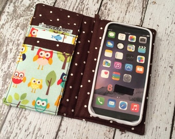 iPhone wallet, iPhone case- owl print wallet with removable gel case