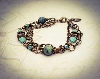 African Turquoise Gemstone  & Czech Glass Bronze Layered Oriental Boho Chain Bracelet - [B18]