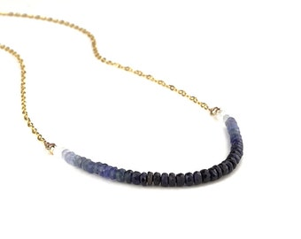 Something Blue Sapphire Necklace, blue ombre, Natural Stone Beads, Minimalist Natural Stone Necklace - 9K Yellow Gold Chain