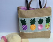 Pineapples shoppers bag, burlap bag with leather straps, beach tote bag, handmade tote, Casual Tote Bag