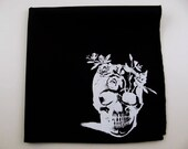 Hankie- FLOWER SKULL shown on super soft black cotton hanky- or choose from white or solid colors or plaids shown in pics