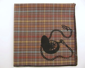 Hankie- POCKET WATCH shown on super soft brown plaid cotton hanky-or choose from white or any solid colors or plaids shown in pics