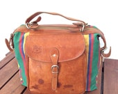 Vintage Genuine IL Bisonte Designed by W.A. Di Filippo Tan Leather and Multicolor Fabric Backpack Made in Italy