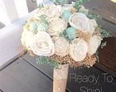 Mint Wedding Bouquet - keepsake Alternative Natural Bridesmaid Bouquet, Sola Flower Wood Bouquet, Shabby Chic Rustic Wedding